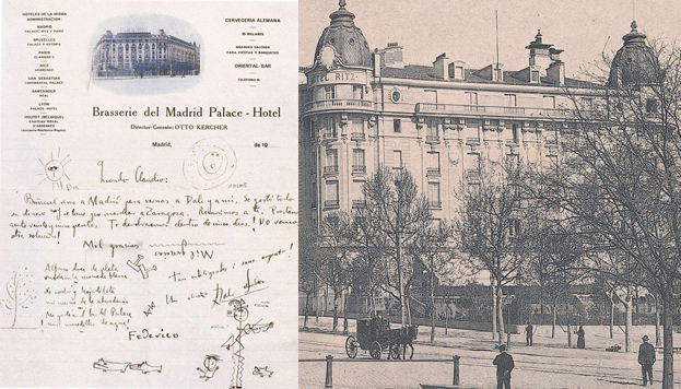 Letter between Dalí and Lorca; An old postcard of the Ritz