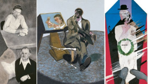 A Visit to London, 1977 © R.B. Kitaj, courtesy of Marlborough Gallery, New York. George Dyer, 1968. © The Estate of Francis Bacon, VEGAP, Madrid. In Memoriam of Cecchino Bracci, 1962 © David Hockney.