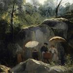 Pintores al aire libre en el bosque de Fontainebleau. 1825. Jules Coignet.