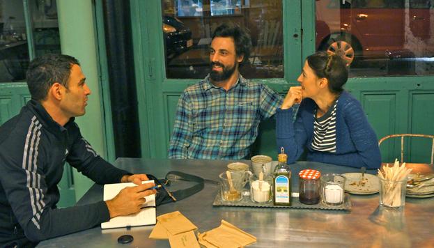 Darío con Martina y Leo, propietarios de Il Tavolo Verde, del que nos habló en su último post.