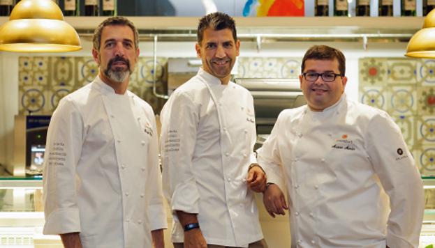 Estos son Pepe Solla, Paco Roncero y Marcos Morán, tres grandes chefs para Sinergias.