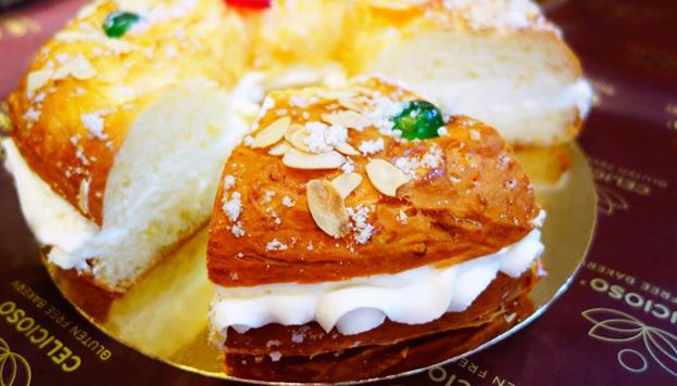 Especial para celíacos: roscón relleno de nata de Celicioso. ¡También ideal para veganos!