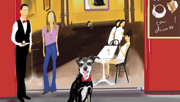 Portada de la guía Madrid con perro, con direcciones dog friendly imprescindibles.