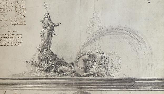 Y, por fin, el dibujo de la fuente de Neptuno que puede verse en la exposición.