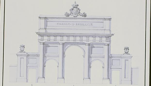 Boceto con el que Ventura Rodríguez se presentó al concurso para hacer la Puerta de Alcalá.