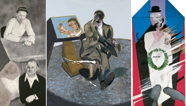 Una visita a Londres, 1977 © R.B. Kitaj, cortesía de Marlborough Gallery, Nueva York. George Dyer,  1968. © The Estate of Francis Bacon, VEGAP, Madrid. En memoria de Cecchino Bracci, 1962 ©David Hockney