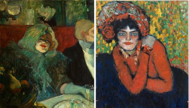 En un reservado (En el Rat Mort), c. 1899. Tolouse Lautrec. La espera (Margot), 1901. Picasso. © Sucesión Pablo Picasso. VEGAP, Madrid, 2017.