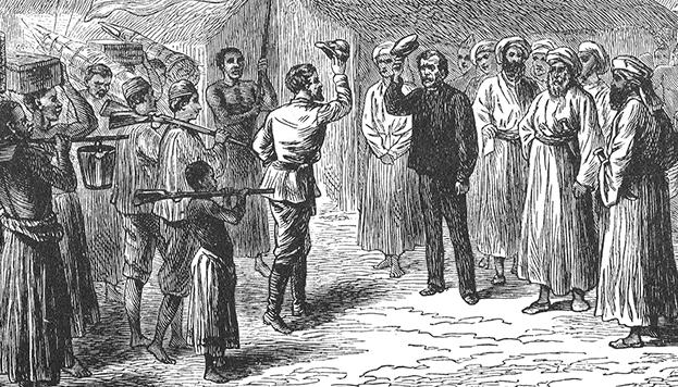 Ilustración del encuentro entre Stanley y Livingstone