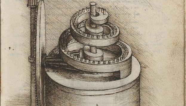 Mecanismos reguladores de la velocidad de rotación de un reloj en Codex Madrid I, Leonardo da Vinci, XV-XVI. MSS/8936, BNE