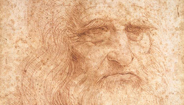Autorretrato atribuido a Leonardo da Vinci, circa 1512, Biblioteca Reale di Torino. Public Domain