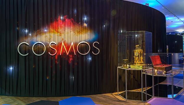 """Montaje de la exposición """"Cosmos"""", Biblioteca Nacional de España"""