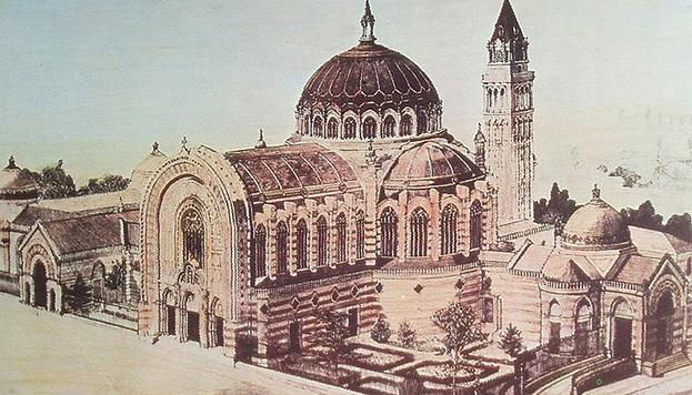 Proyecto original de Fernando Arbós y Tremanti para la Real Basílica de Nuestra Señora de Atocha, el campanil y el Panteón de Hombres Ilustres.