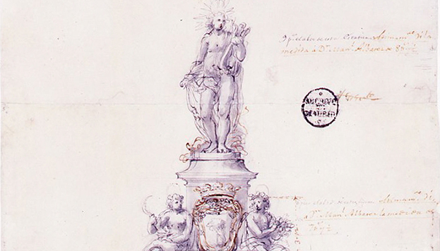 Boceto de la Fuente de Apolo realizado por Ventura Rodríguez