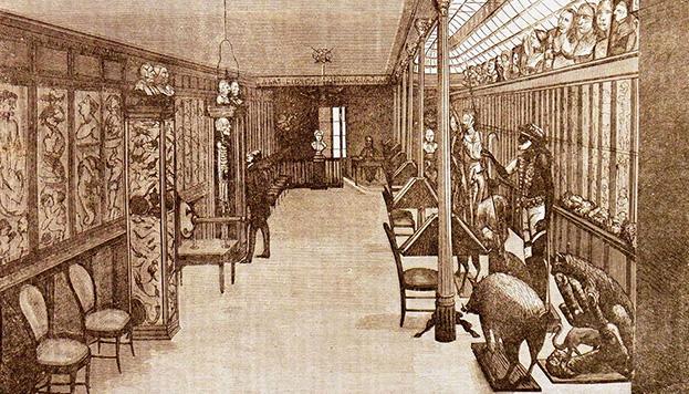 Grabado de una sala del Museo Anatómico (El Anfiteatro Anatómico Español, nº 36, 15 de julio de 1874, p. 150)