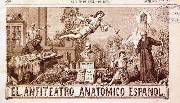Cabecera de la revista El anfiteatro anatómico español