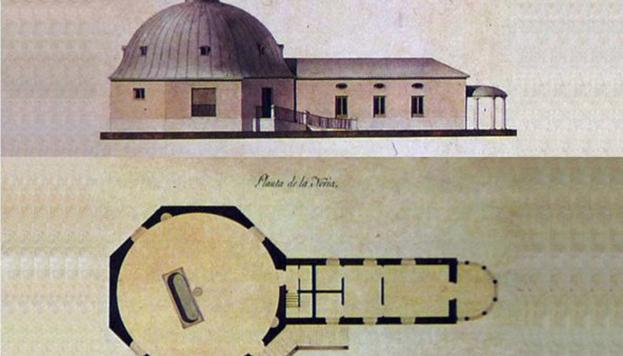 """Plano y alzado de la """"Noria del Contrabandista"""". Estudio de Teodoro Custodio (1841) a partir del plano original."""