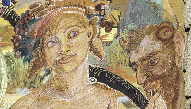Este es Baco, el dios del vino, presente en los frescos de la Casa de la Panadería.