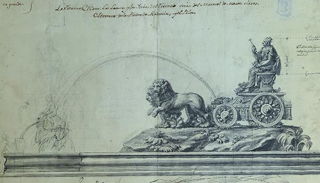 Así imaginó el arquitecto Ventur Rodríguez la fuente de Cibeles allá por el siglo XVIII (©Memoria de Madrid).
