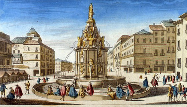 En este dibujo antiguo es posible ver cómo era en su día la fuente de la Mariblanca (©Memoria de Madrid).