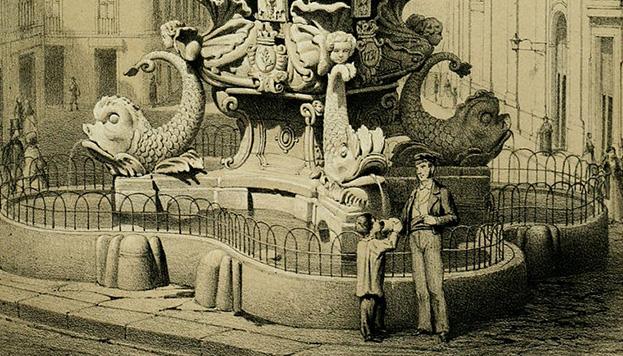 Litografía de mediados del siglo XIX en la que se aprecia la parte baja de la fuente (© Memoria de Madrid).
