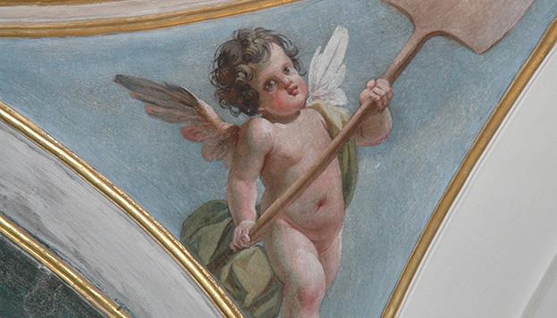 Detalle de una de las pechinas de la cúpula de la capilla del Museo de San Isidro.