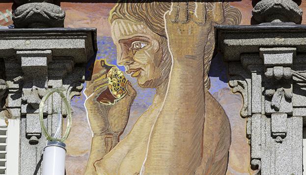 Y esta, Proserpina, pintada también en la fachada del emblemático edificio de la Plaza Mayor.