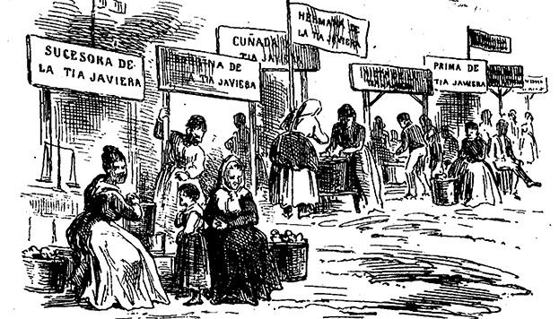 Viñeta de los puestos de rosquillas publicada en la revista satírica El Mundo Cómico, 1875 (Hemeroteca Digital BNE)..
