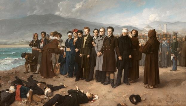 Fusilamiento de Torrijos y sus compañeros en las playas de Málaga, 1888. Antonio Gisbert Pérez. © Museo del Prado.